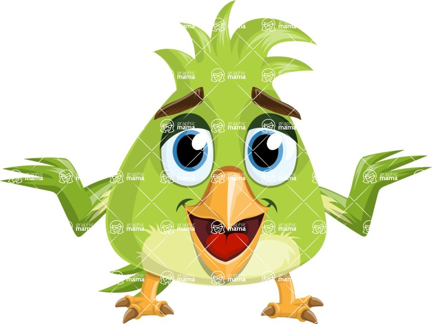 Parrot Cartoon Vector Character AKA Collin Feathers - Sorry