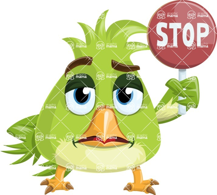Parrot Cartoon Vector Character AKA Collin Feathers - Stop