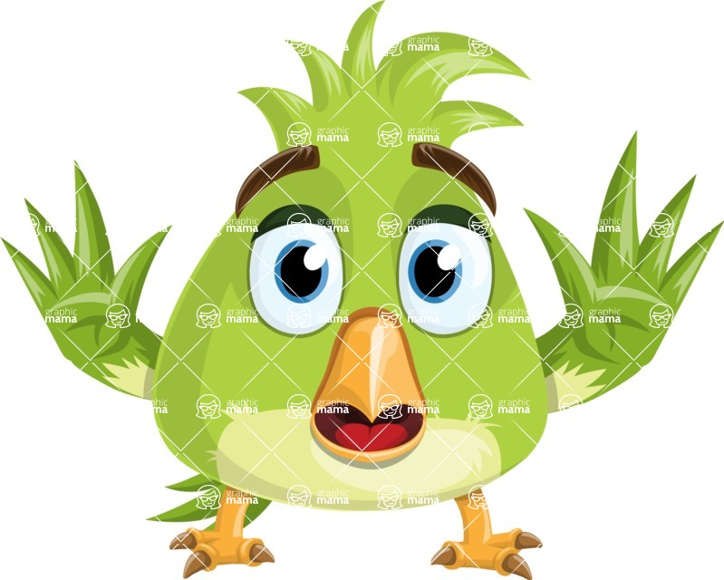 Parrot Cartoon Vector Character AKA Collin Feathers - Stop 2