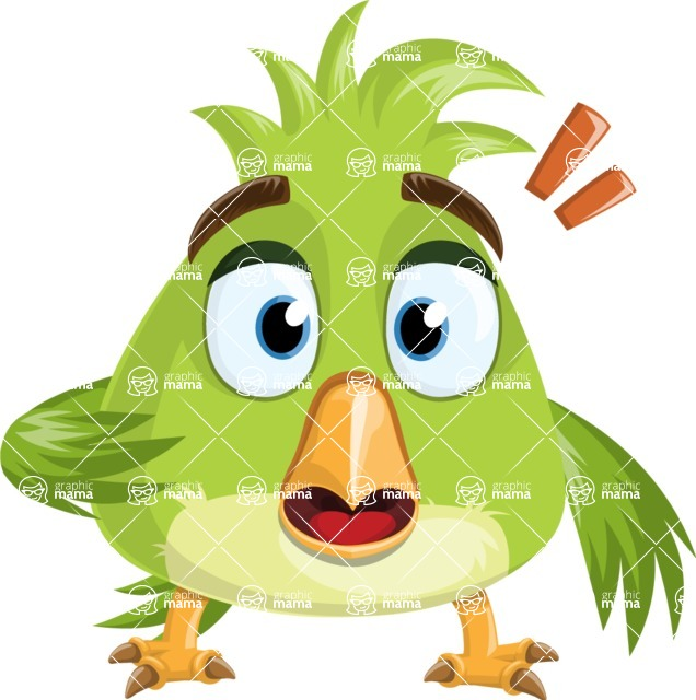 Parrot Cartoon Vector Character AKA Collin Feathers - Stunned