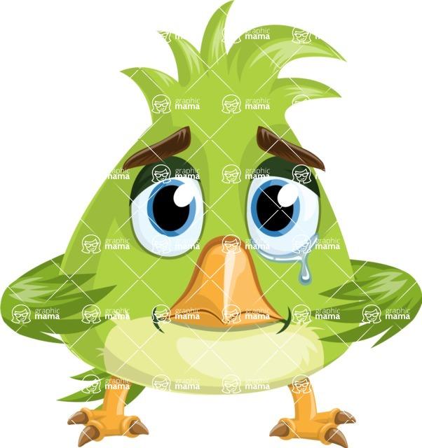 Parrot Cartoon Vector Character AKA Collin Feathers - Sad 2