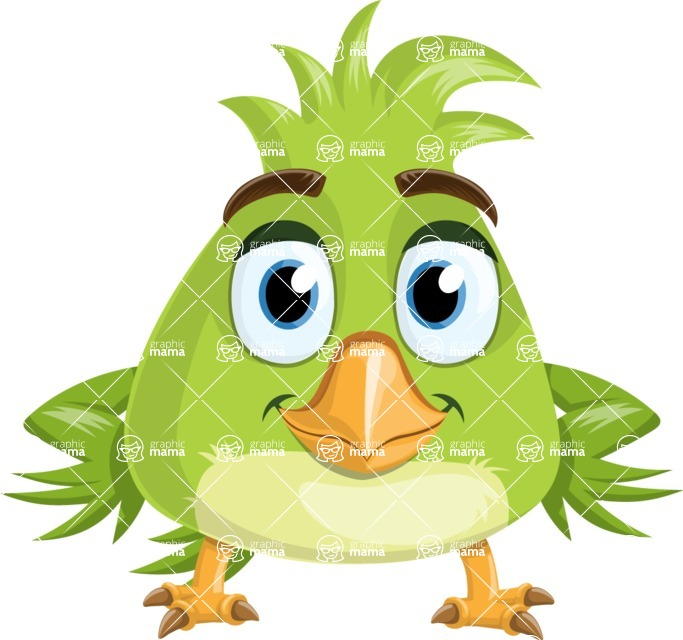Parrot Cartoon Vector Character AKA Collin Feathers - Patient