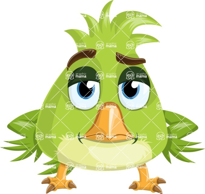 Parrot Cartoon Vector Character AKA Collin Feathers - Bored