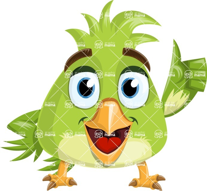 Parrot Cartoon Vector Character AKA Collin Feathers - Thumbs Up