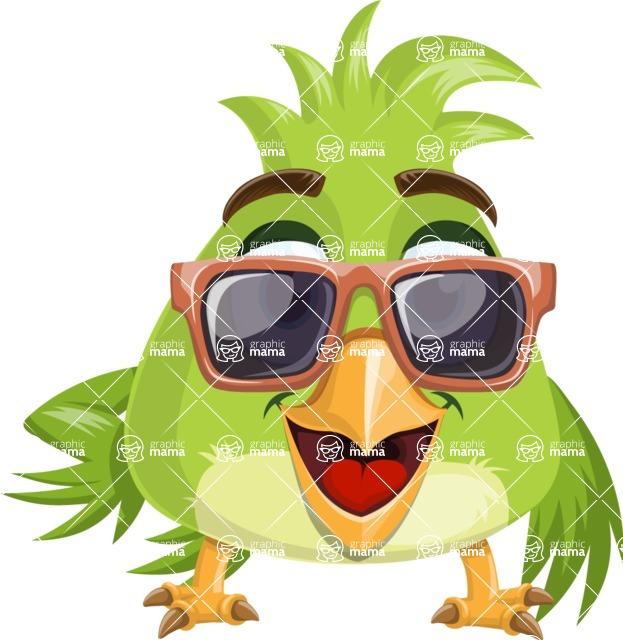 Parrot Cartoon Vector Character AKA Collin Feathers - Sunglasses