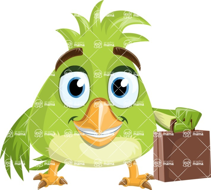 Parrot Cartoon Vector Character AKA Collin Feathers - Briefcase
