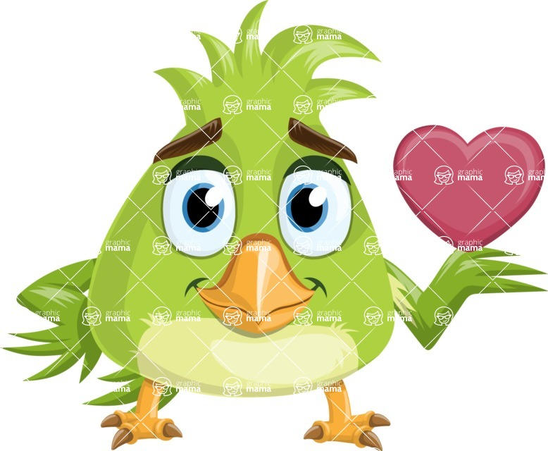 Parrot Cartoon Vector Character AKA Collin Feathers - Show Love