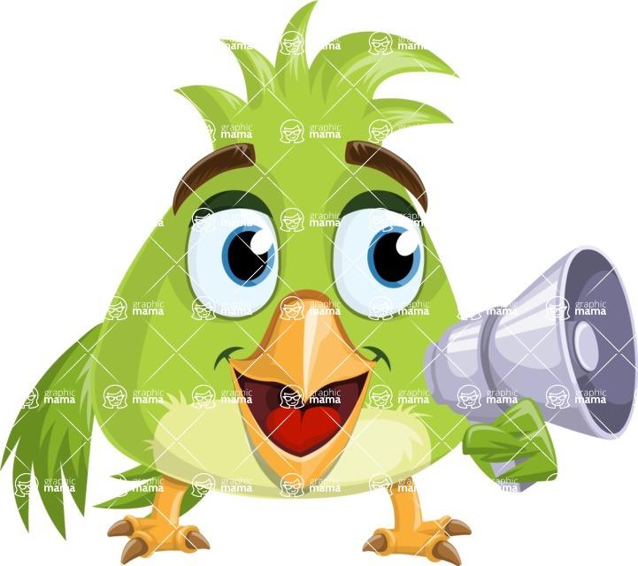 Parrot Cartoon Vector Character AKA Collin Feathers - Loudspeaker