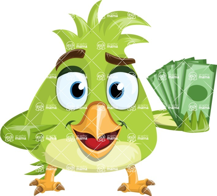 Parrot Cartoon Vector Character AKA Collin Feathers - Show me the Money