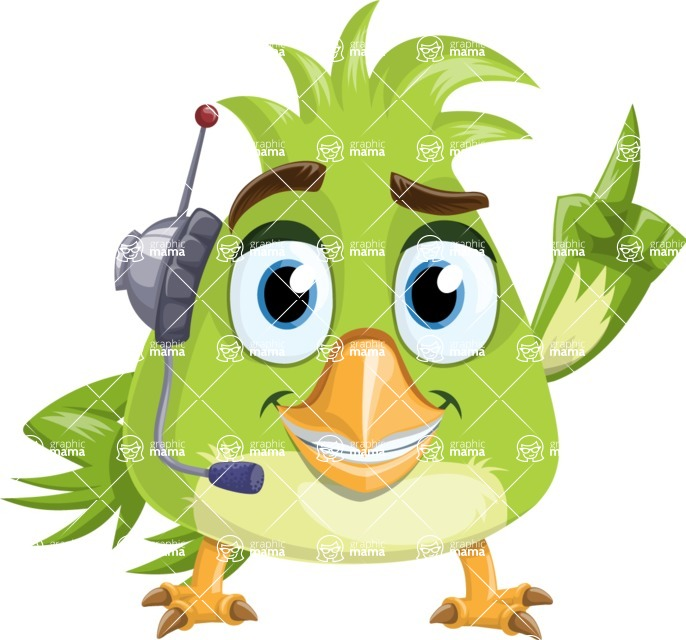 Parrot Cartoon Vector Character AKA Collin Feathers - Support