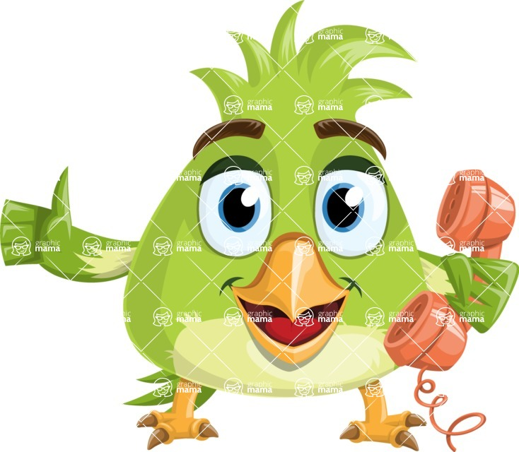 Parrot Cartoon Vector Character AKA Collin Feathers - Support 2
