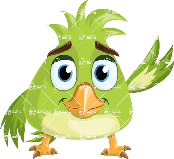 Parrot Cartoon Vector Character AKA Collin Feathers - Wave