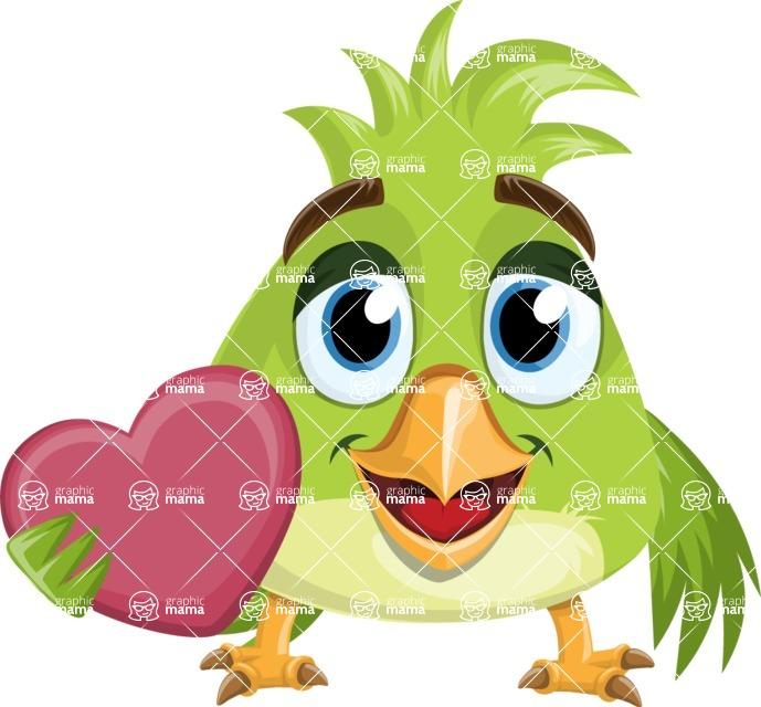 Parrot Cartoon Vector Character AKA Collin Feathers - Love