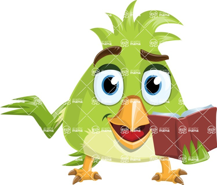 Parrot Cartoon Vector Character AKA Collin Feathers - Book