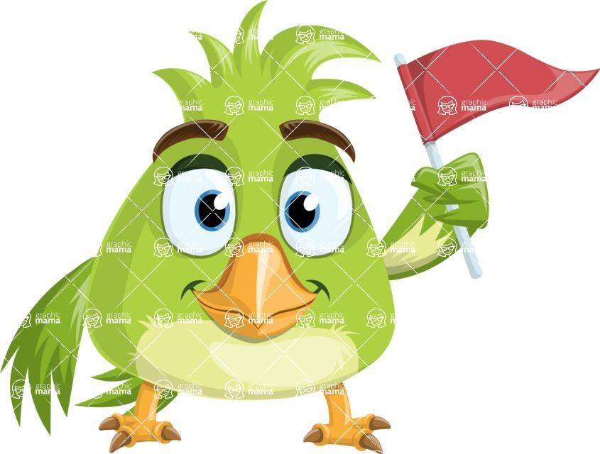 Parrot Cartoon Vector Character AKA Collin Feathers - Flag