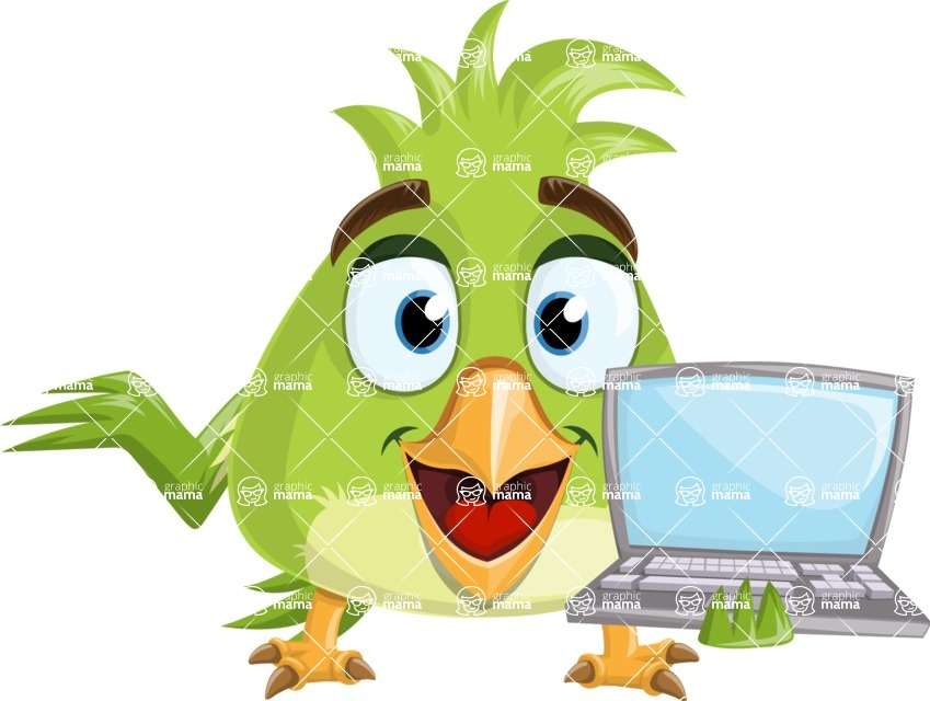 Parrot Cartoon Vector Character AKA Collin Feathers - Laptop 1