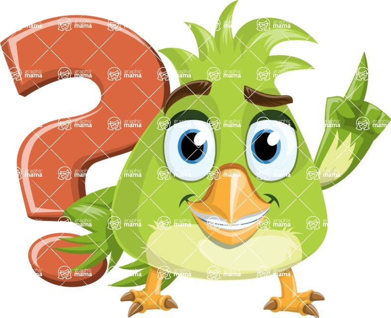 Parrot Cartoon Vector Character AKA Collin Feathers - Question Mark