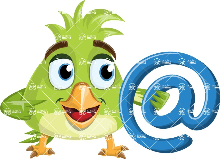 Parrot Cartoon Vector Character AKA Collin Feathers - Email