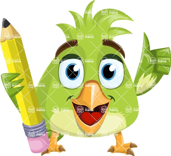 Parrot Cartoon Vector Character AKA Collin Feathers - Pencil