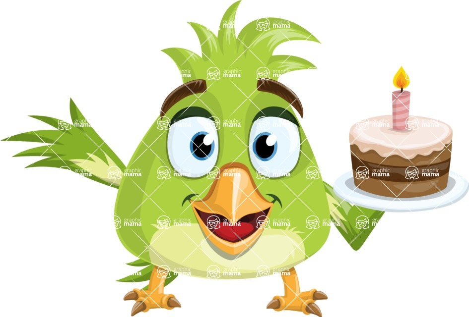 Parrot Cartoon Vector Character AKA Collin Feathers - Cake