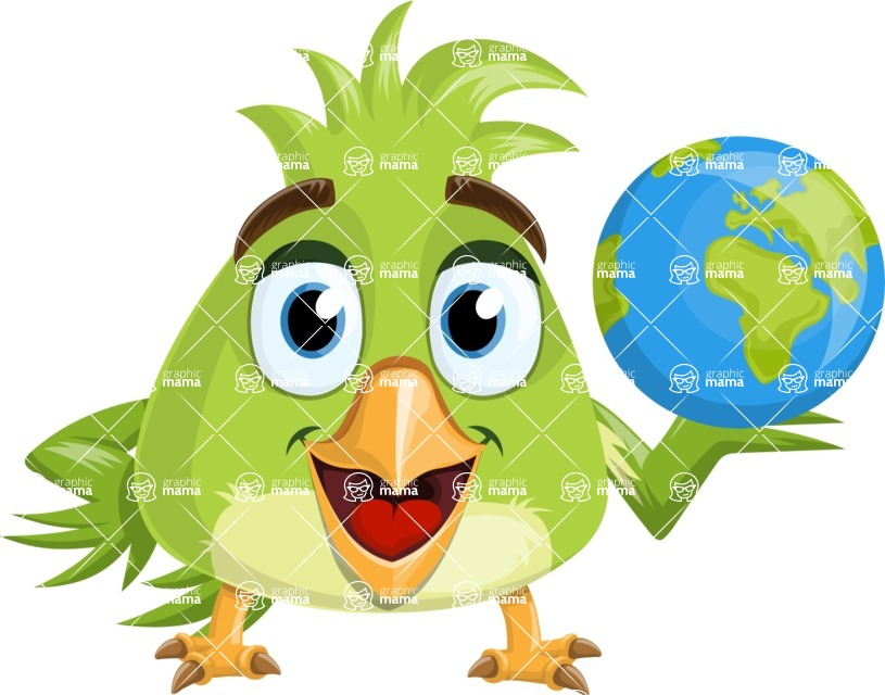 Parrot Cartoon Vector Character AKA Collin Feathers - Earth