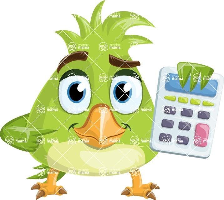 Parrot Cartoon Vector Character AKA Collin Feathers - Calculator