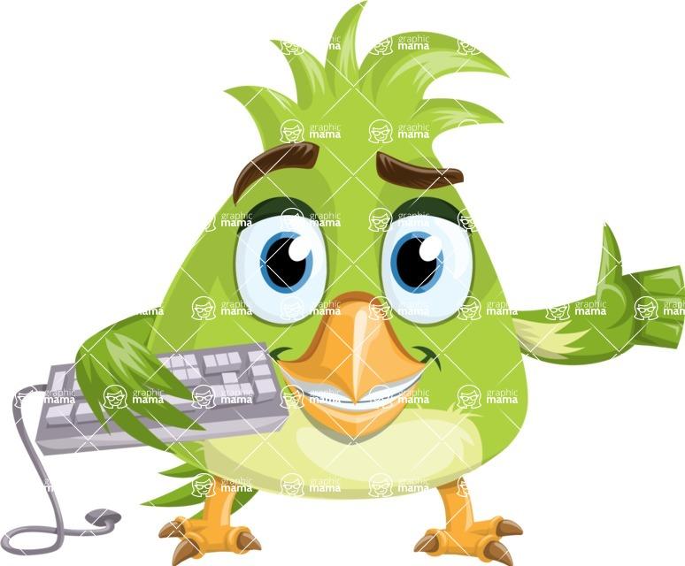 Parrot Cartoon Vector Character AKA Collin Feathers - Keyboard