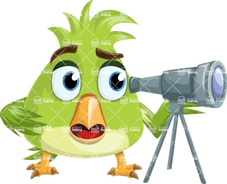 Parrot Cartoon Vector Character AKA Collin Feathers - Telescope