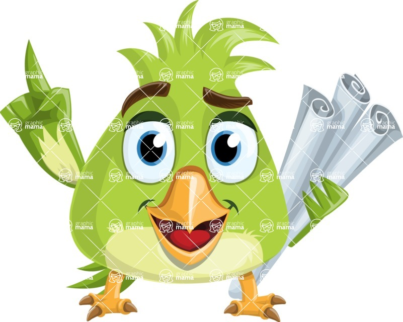 Parrot Cartoon Vector Character AKA Collin Feathers - Plans
