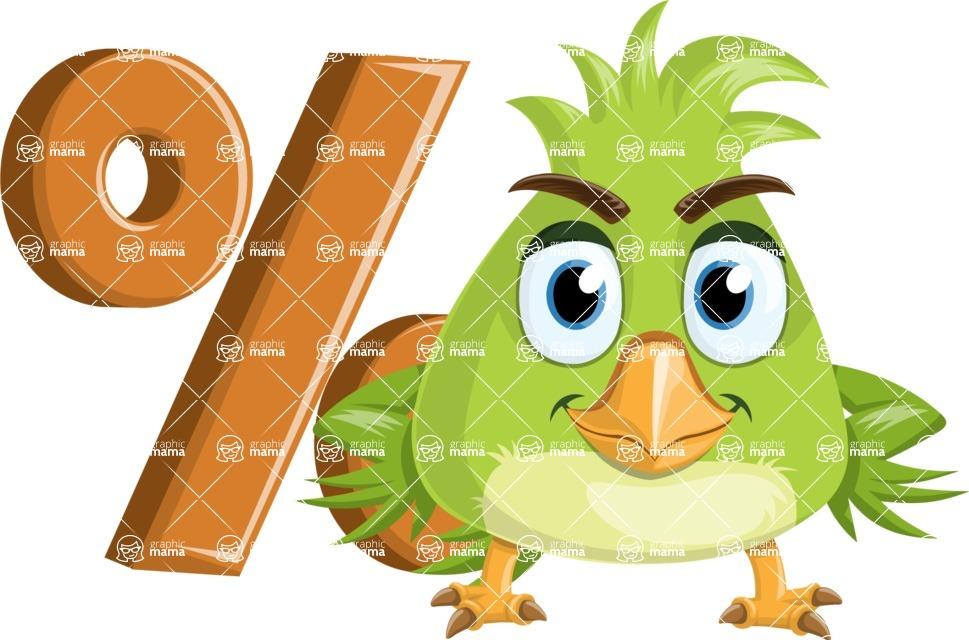 Parrot Cartoon Vector Character AKA Collin Feathers - Percent