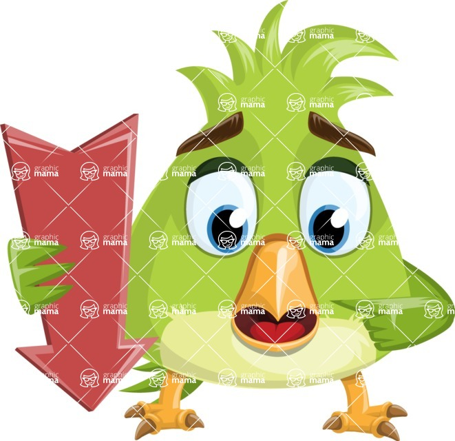 Parrot Cartoon Vector Character AKA Collin Feathers - Pointer 2