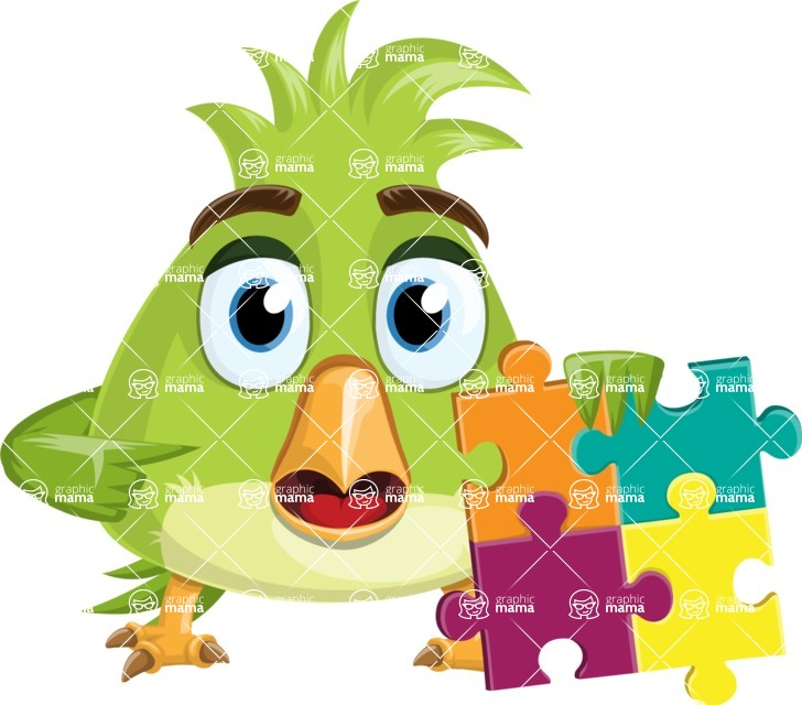 Parrot Cartoon Vector Character AKA Collin Feathers - Puzzle