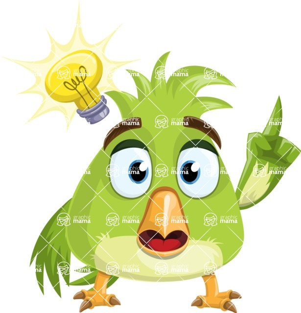 Parrot Cartoon Vector Character AKA Collin Feathers - Idea