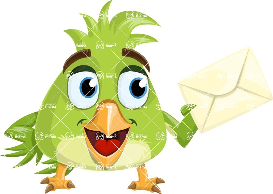 Parrot Cartoon Vector Character AKA Collin Feathers - Letter
