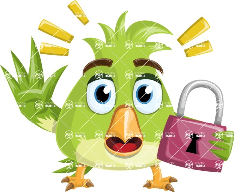 Parrot Cartoon Vector Character AKA Collin Feathers - Lock
