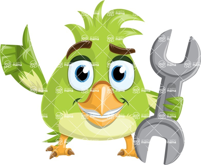 Parrot Cartoon Vector Character AKA Collin Feathers - Repear