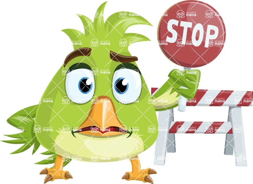Parrot Cartoon Vector Character AKA Collin Feathers - Construction