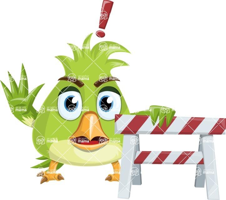 Parrot Cartoon Vector Character AKA Collin Feathers - Construction 2