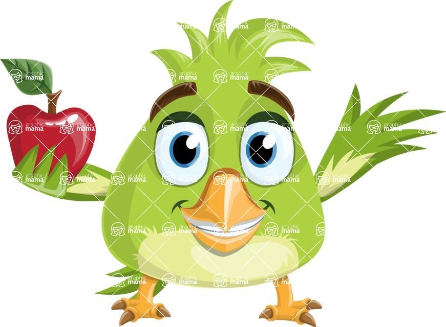 Parrot Cartoon Vector Character AKA Collin Feathers - Apple