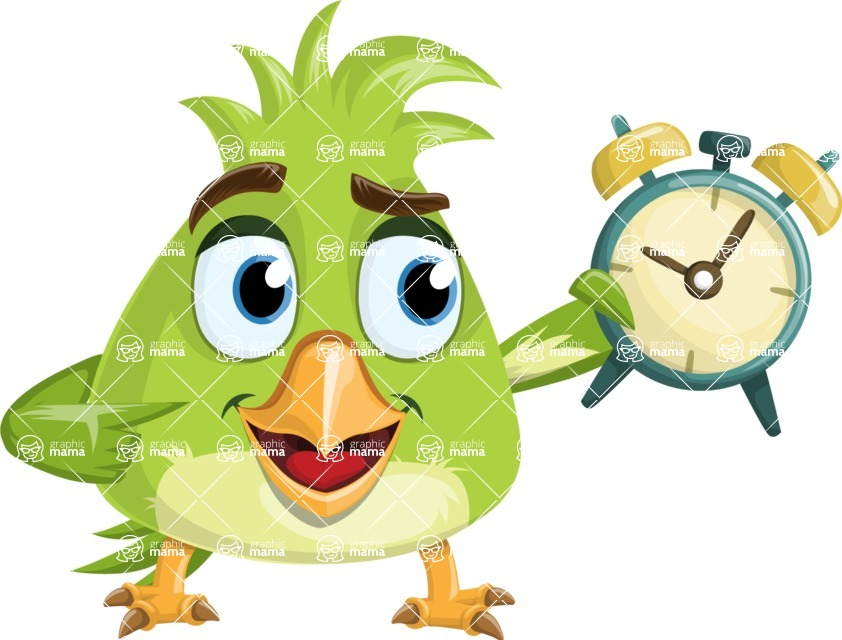 Parrot Cartoon Vector Character AKA Collin Feathers - On Time