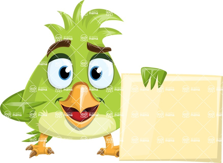 Parrot Cartoon Vector Character AKA Collin Feathers - Sign 1