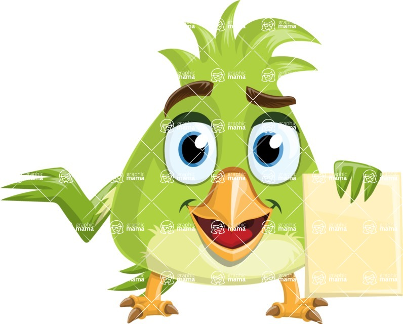 Parrot Cartoon Vector Character AKA Collin Feathers - Sign 2
