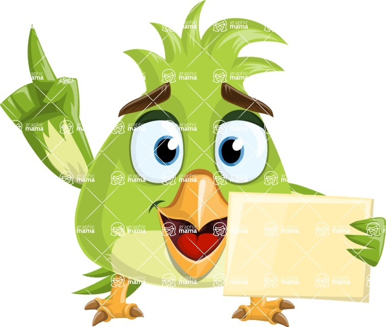 Parrot Cartoon Vector Character AKA Collin Feathers - Sign 3