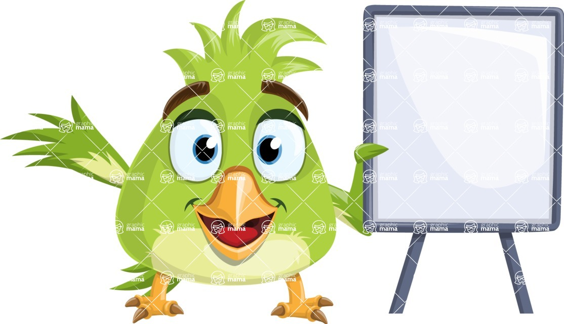 Parrot Cartoon Vector Character AKA Collin Feathers - Sign 4