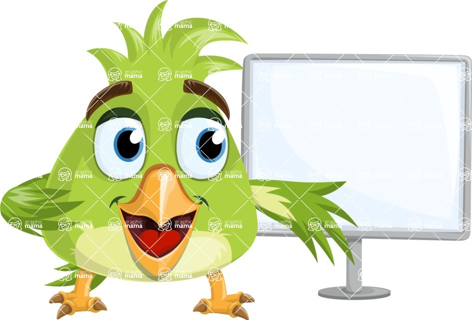 Parrot Cartoon Vector Character AKA Collin Feathers - Sign 6