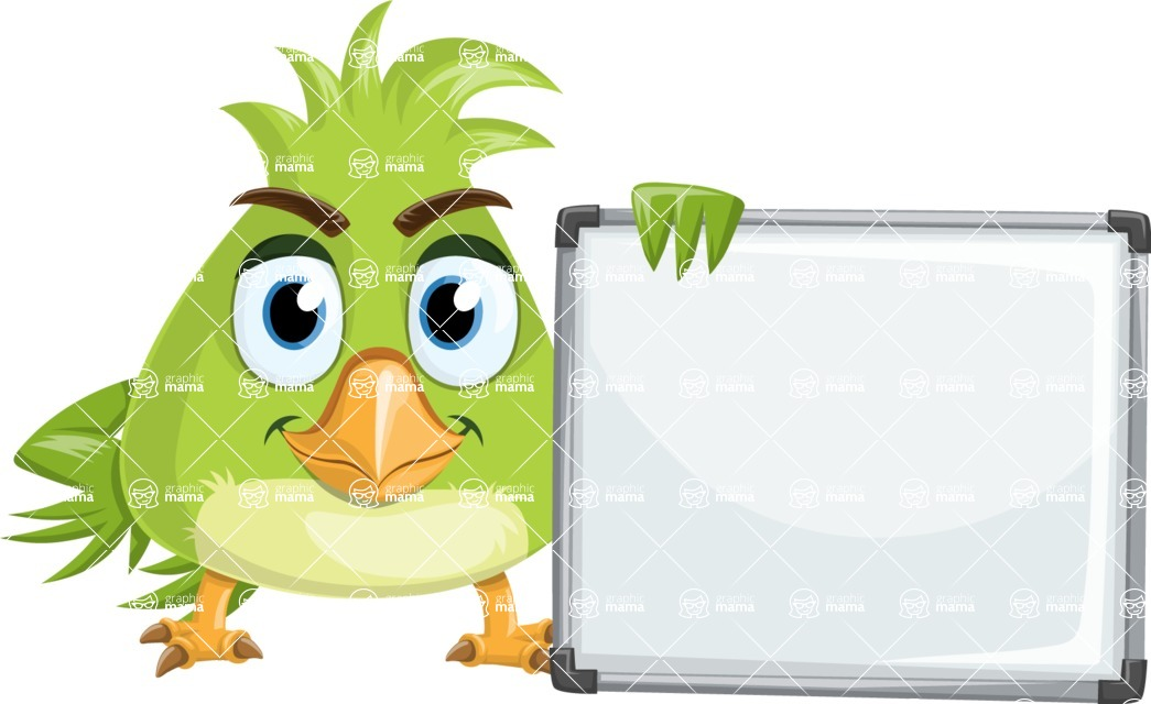 Parrot Cartoon Vector Character AKA Collin Feathers - Sign 7