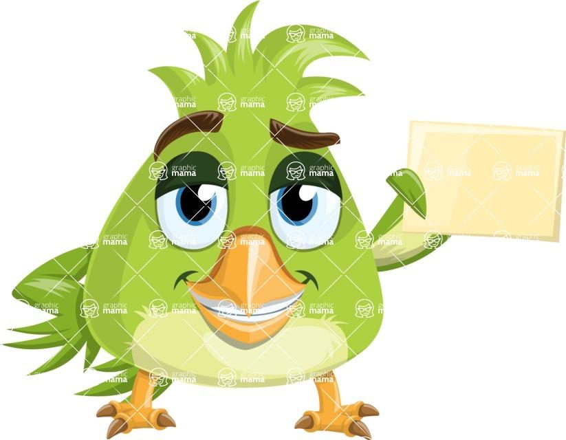 Parrot Cartoon Vector Character AKA Collin Feathers - Presentation 2