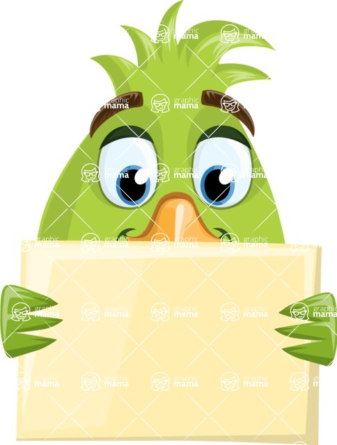 Parrot Cartoon Vector Character AKA Collin Feathers - Presentation 4
