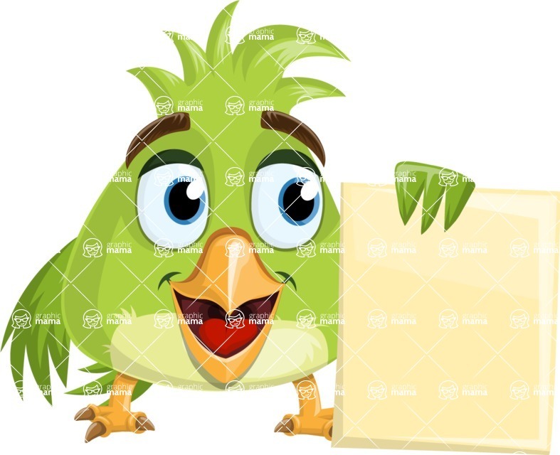 Parrot Cartoon Vector Character AKA Collin Feathers - Presentation 5