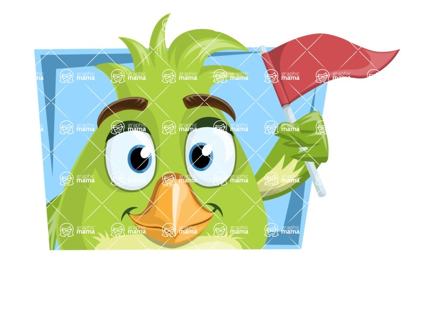 Parrot Cartoon Vector Character AKA Collin Feathers - Shape 1
